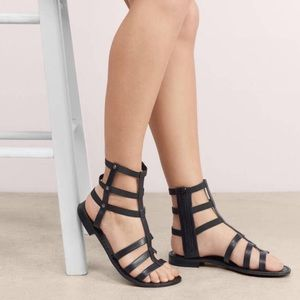 Snake Embossed Leather Strappy Gladiator Sandals